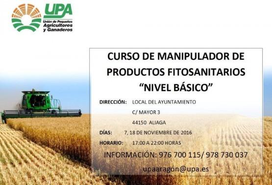 Cartel curso manipulador fitosanitarios